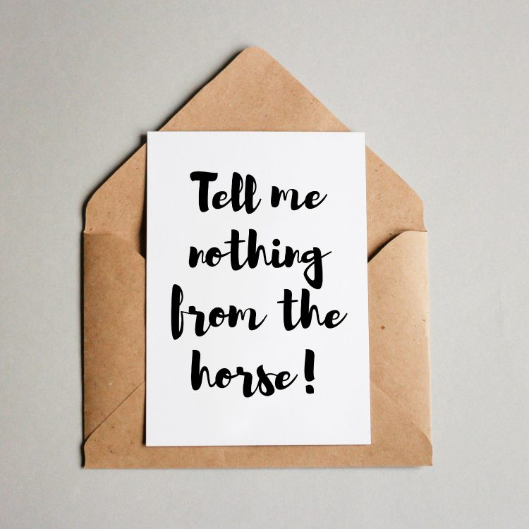 Erzähl mir nichts vom Pferd!