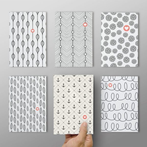 "6er Set ""Postkarten mit Muster #1"""